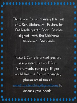 Oklahoma  Pre-K Social Studies I Can Statement Posters in Blue and White Chevron