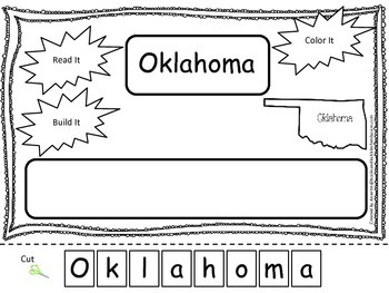 Oklahoma Read it, Build it, Color it Learn the States preschool worksheet.