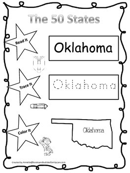 Oklahoma Read it, Trace it, Color it Learn the States preschool worksheeet.