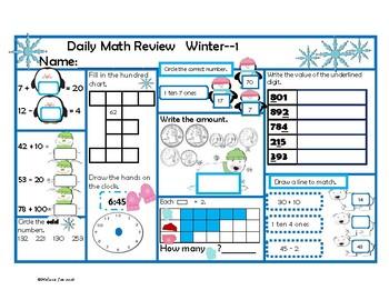 Oklahoma Mathematics Content Standards 2nd Grade Math Review Winter Theme