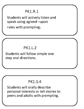 Oklahoma Standards and Objectives for PreK