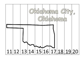 Oklahoma State Capitol Number Sequence Puzzle 11-20.  Geography and Numbers.