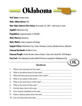 Oklahoma State Information & Worksheet