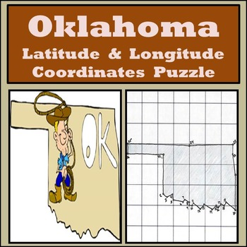 Oklahoma State Latitude and Longitude Coordinates Puzzle -