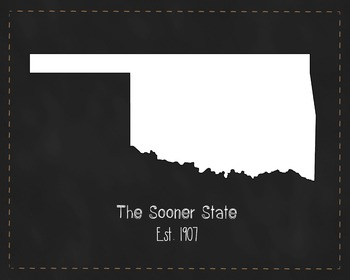 Oklahoma State Map Class Decor, Government, Geography, Black and White Design
