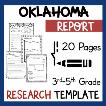 Oklahoma State Research Report Project Template + bonus timeline craftivity OK