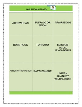Oklahoma State Symbols Bingo