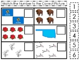 Oklahoma State Symbols themed Match the Number Preschool Math and Counting Game.