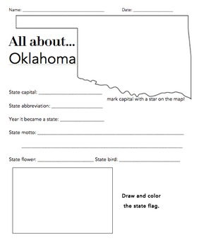 Oklahoma Facts, Worksheets & State Historical Information For Kids