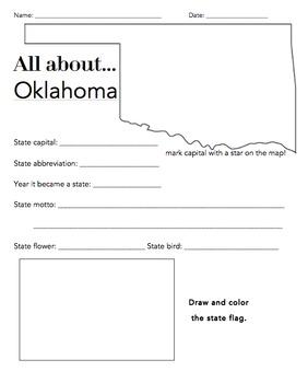Oklahoma State Worksheet: Elementary Version