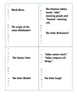 Oklahoma Statehood Day I Have, Who Has? Fact Game