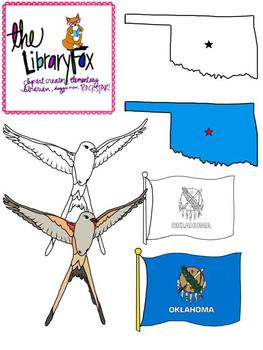 Oklahoma Symbols Clip Art for Personal or Commercial Use