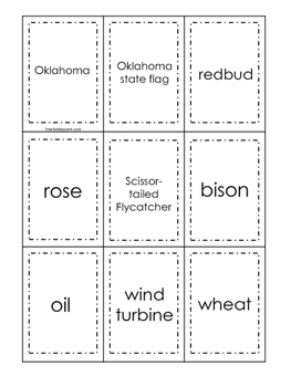 Oklahoma themed Memory Matching and Word Matching preschool curriculum  game
