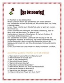 Oktoberfest short story for beginning German students