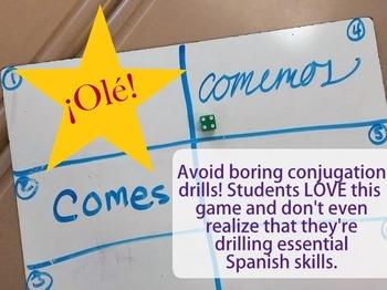 ¡Olé! Spanish Verb Conjugation Game AR ER IR Verbs Present Future Past Tense