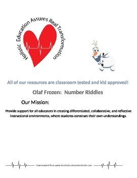 Olaf Frozen Number Riddles