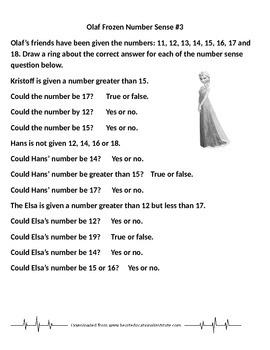 Olaf Frozen Number Sense #2