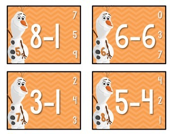 Olaf's Subtraction Task Cards