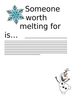 Olaf Writing - Someone Worth Melting For...