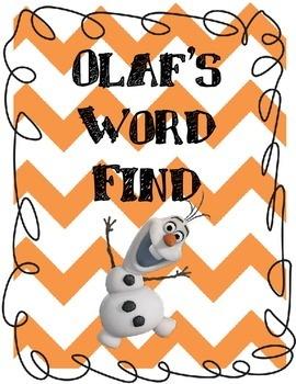 Olaf's Word Find: Nouns and Verbs