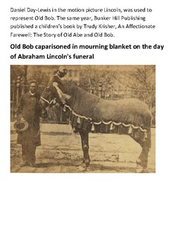Old Bob or Old Robin Abraham Lincoln's Horse Handout