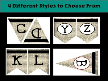 Old Book Bulletin Board Letters: Bunting/Pennet Style