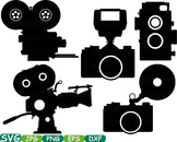 Old Camera Cutting file SVG Monogram Clipart Wedding Photo Booth Movie Film 257S