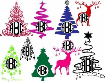 Old Christmas tree reindeer Holiday Clip art Cutting files card silhouette -L1S-