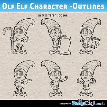Old Elf Character - Outlines - Set 2 - Jpeg & Png's Only