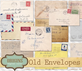 Old Envelopes Clipart Vintage Handwritten Letters Clip Art By