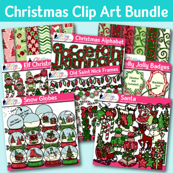 Christmas Clip Art Bundle {Santa, Snowman, Reindeer, Elf, Scrapbook Papers}