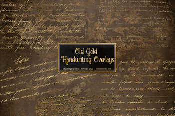 Old Gold Handwriting Overlays, gold glitter foil clipart letters
