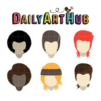 Old Hair Styles Clip Art - Great for Art Class Projects!