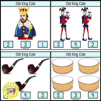 Old King Cole Count and Clip Task Cards