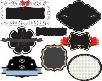 Old Labels Chalkboard Frames Clip art Cutting Vintage Badge logo sticker -L2S-