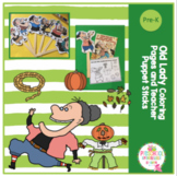 Old Lady Coloring Pages and Teachers Puppet Sticks