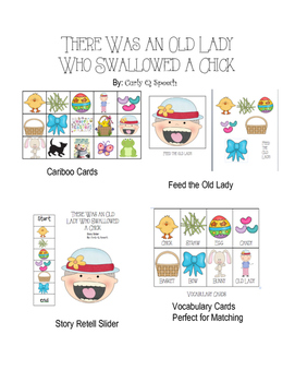 Old Lady Swallowed A Chick- Cariboo Cards, Story Retell Slider & More