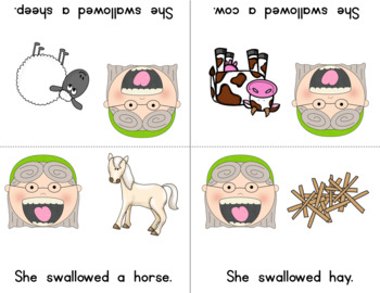 Old Lady Swallowed A Cow Listening Response, Sequencing & Reader!
