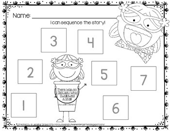 Old Lady Swallowed A Shell Listening Response, Sequencing & Reader!