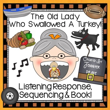 graphic relating to There Was an Old Lady Printable Template known as Outdated Woman Swallowed A Turkey Listening Reply, Sequencing Reader!