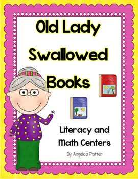 Old Lady Swallowed Books Centers-Literacy and Math Back to