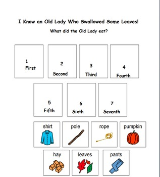 Old Lady Swallowed Leaves Sequence Activity