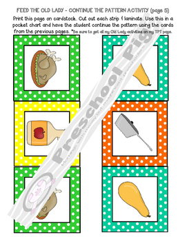 Old Lady Swallowed a Pie Activity, ABC, Matching, Memory, Patterns, Thanksgiving