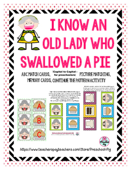 Old Lady Swallowed a Pie Activity, ABC, Matching, Memory,