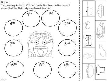 There Was an Old Lady Who Swallowed a Pie- Literacy Mini Pack
