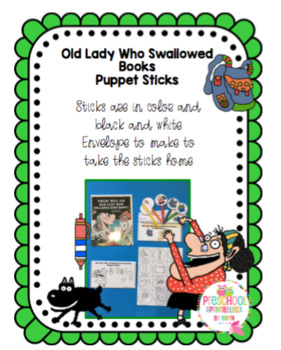 Old Lady Who Swallowed Books Puppet Sticks