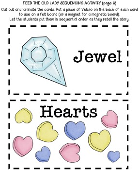 Old Lady Who Swallowed Rose Activity Valentine's Day Card Retelling Sequencing