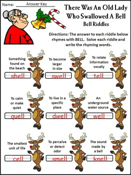 Christmas Activities: Old Lady Who Swallowed a Bell Christmas Reading Activity