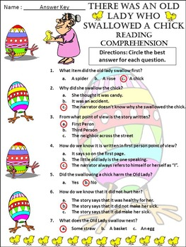 Easter Reading Activity: Old Lady Who Swallowed a Chick Spring Reading Activity
