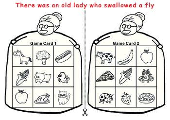 Old Lady Who Swallowed a Fly:10 Tic Tac Toe Bingo Game Cards